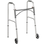 "Drive Medical Folding Walker, Two Button with 5"" Wheels - 4/cs"