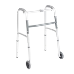 "Drive Medical Deluxe Folding Walker, One Button with 5"" Wheels - 2/cs"