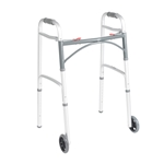 "Drive Medical Deluxe Folding Walker, Two Button with 5"" Wheels - 4/cs"
